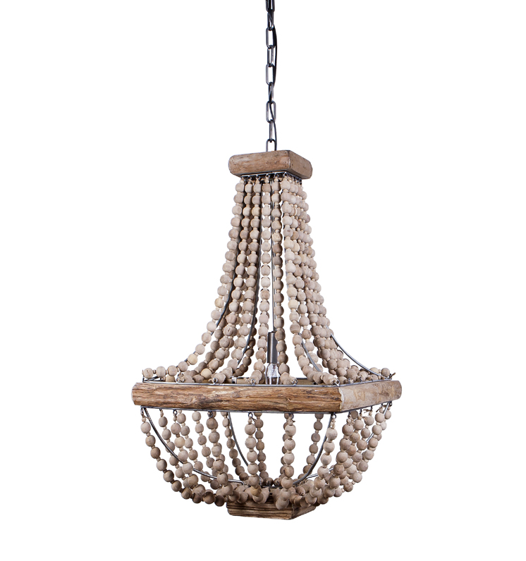 Creative Co-op DA1910 Metal Chandelier with Maple Beads ...